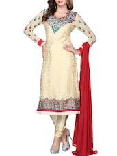 Cream Embroidered Semi-Stitched Salwar Suit - Sixmeter