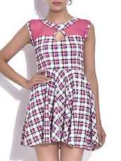 White Checkered Poly Net Sleeveless Dress - By