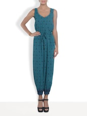 Green Rayon Printed Jumpsuit - By