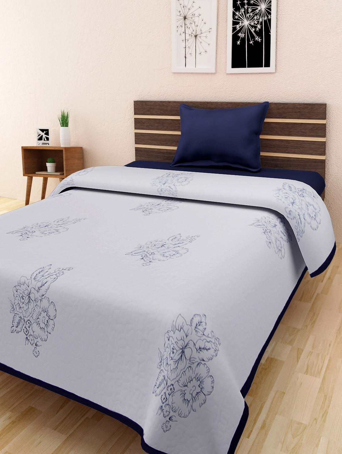 White And Blue Cotton Embroidered Double Bed Quilt - By