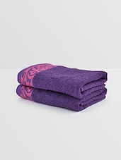Purple And Pink Cotton Hand Towel (Set Of 2) - By