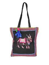 Black Tote Bag With Multi-coloured Embroidery - Pick Pocket
