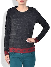 Black Round Neck Full Sleeve Mix N Match Snow Fleece Pre Winter Top - By