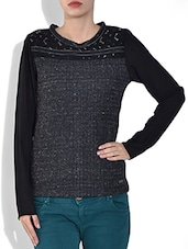 Black Round Neck Full Sleeve Mix N Match Fancy Knitted Fabric Pre Winter Top - By