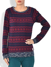 Red Round Neck Full Sleeve Jacquard Fabric Pre Winter Top - By