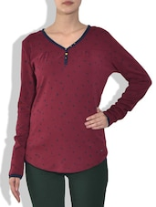 Brown V-Neck With Placket Full Sleeve Rib Top - By