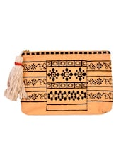 Peach And Black Embroidered Pouch - Diwaah
