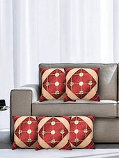 Maroon Poly Cotton Cushion Covers (Set Of 5) - By