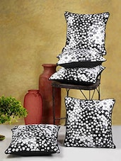 Printed Black And Grey Poly Cotton Cushion Covers (Set Of 5) - By