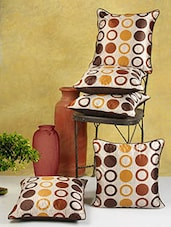 Circle Printed Brown Poly Cotton Cushion Covers (Set Of 5) - By