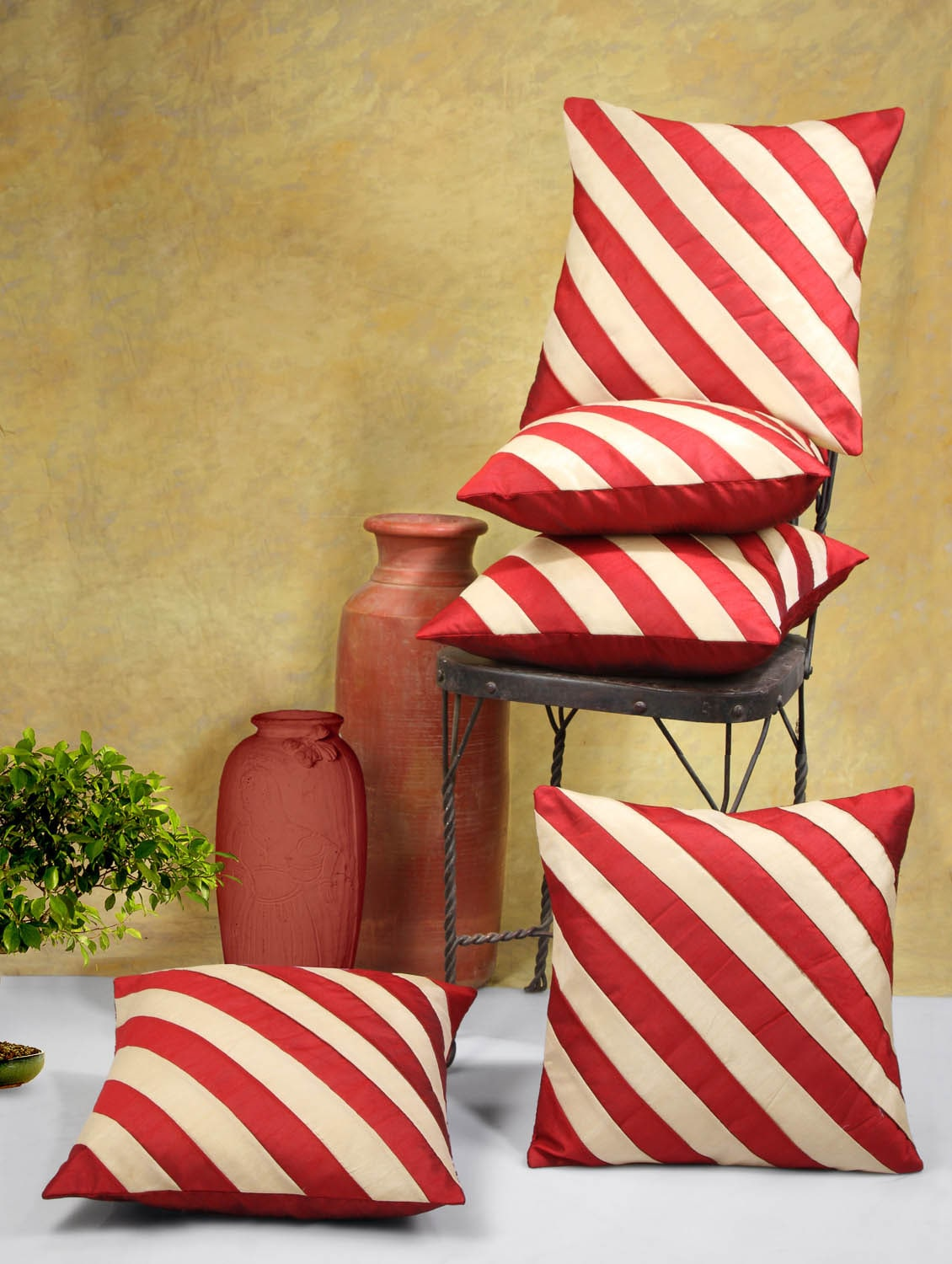 Red And Beige Striped Poly Cotton Cushion Covers (Set Of 5) - By