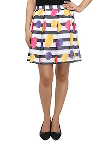multicolored floral n striped box pleated skirt