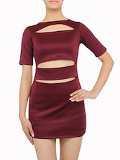 Wine Cut-out Short Dress - By