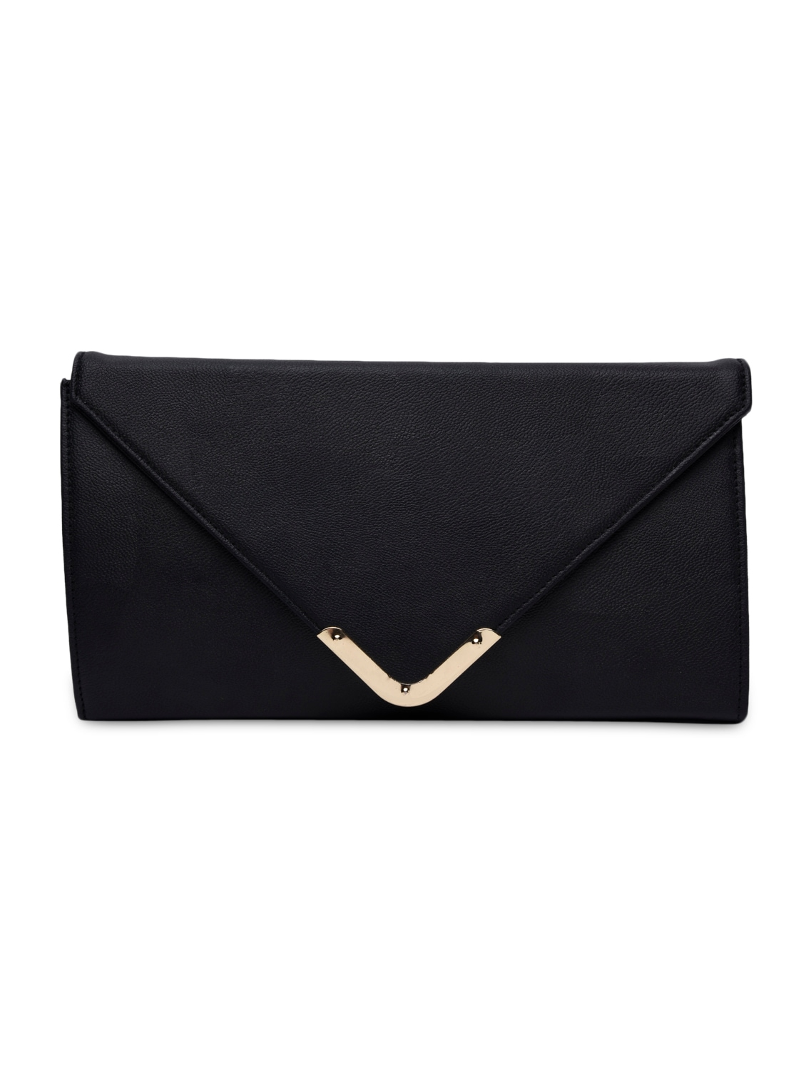 Black Leatherette Plain Clutch - By