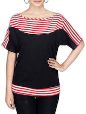 Black Striped Short Sleeved Jersey Top - By