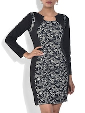 Black And Grey Printed Viscose Dress - By