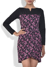 Black And Purple Printed Viscose Dress - By