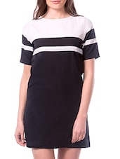 Black And White Crepe Dress - By