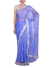 Blue Kota Silk  Sequin Worked Saree - By