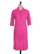 Solid Pink Collared Cotton Kurta - By