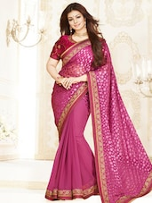 Magenta Brasso Georgette Saree With Embroidered Border - By