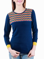 Blue Winter Top With A Multi-coloured Neck - Madrona