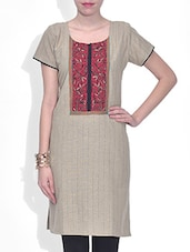 Red Khadi Striped Short Sleeved Kurta - By