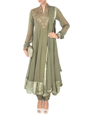 Green Georgette Hand Embroidered  Anarkali  Suit Set - By