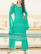 Green Cotton Embroidered Salwar Suit Set - By