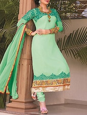 Green Georgette Embroidered Salwar Suit Set - By