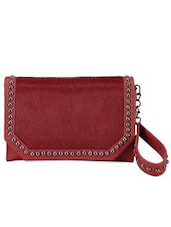 Maroon Studded Leather Wallet Clutch - Phive Rivers