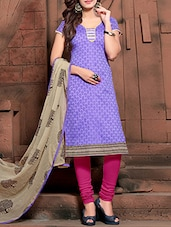 Purple Printed Semi Stitched Suit Set - By