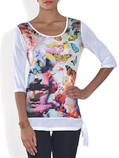 Multicolored Poly Viscose Digital Printed T Shirt - By - 9575961