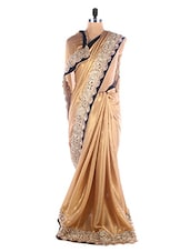 Regal Satin Gold Saree With Zari Velvet Border - SEEPIA