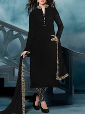 Black Embroidered Banglori Silk Semi Stitched Suit Set - By