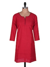 Red Three Quarter Sleeve Plain Cotton Kurti - Buy Clues