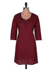 Maroon Three Quarter Sleeve Plain Cotton Kurti - Buy Clues