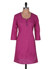 Pink Three Quarter Sleeve Plain Cotton Kurti - Buy Clues