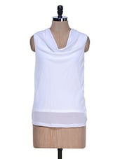 Sleeveless Cowl Neck White Top - La Zoire