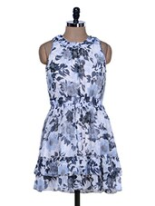 White And Grey Floral Print Dress - La Zoire