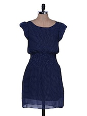 Polka Dot Print Navy Blue Dress - La Zoire