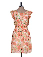 Orange And White Floral Print Dress - La Zoire