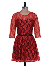 Red Lace Party Wear Dress - La Zoire