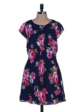 Floral Print Navy Blue Dress - La Zoire