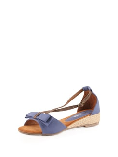 Blue Strappy Sandals With Jute Heel - Solo Voga