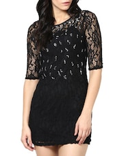 Black Lace Sheath Dress - Stykin