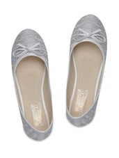 White Sequined Faux Leather Ballerinas With Bow - By