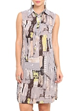 Grey Printed Sleeveless Polyester Dress - By