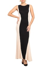 Black And Beige Color Blocked Maxi Dress - By