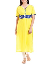 Yellow Printed Cotton Cambric Kurta - By